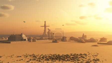 Science fiction illustration of a future colony se...