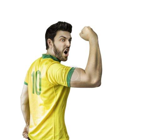 Brazilian soccer player celebrates