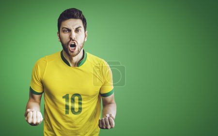 Brazilian soccer player celebrates