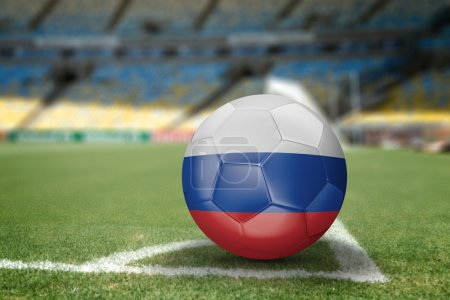 Russia soccer ball on the soccer field