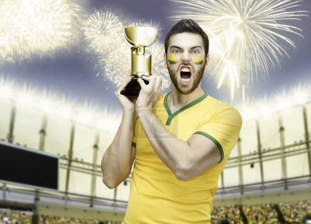 Brazilian soccer player celebrates the victory on the stadium