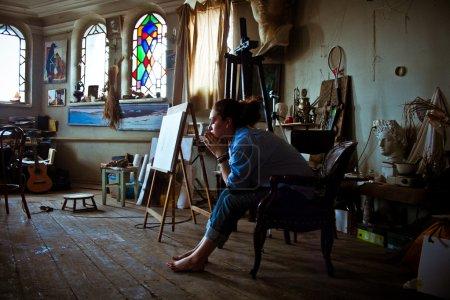 Woman in art workshop, studio