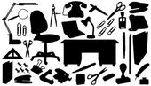 Office tools silhouettes