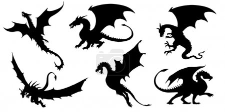 Illustration for Dragon silhouettes on the white background - Royalty Free Image