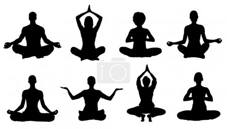 Illustration for Meditation silhouettes on the white background - Royalty Free Image