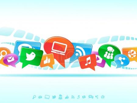 Illustration for Background, media, mobile, network, social, speech, symbol - Royalty Free Image