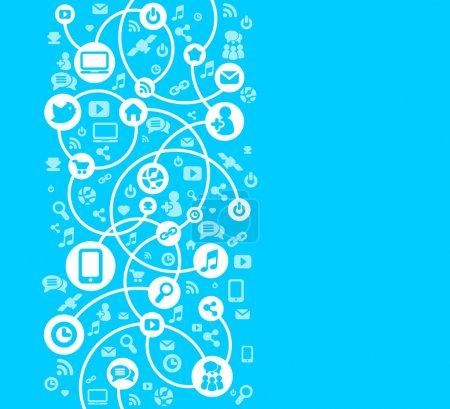 Illustration pour Réseau social fond du vecteur icônes - image libre de droit