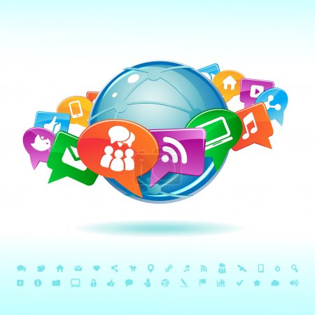 Illustration for Social background network of the icons vector - Royalty Free Image