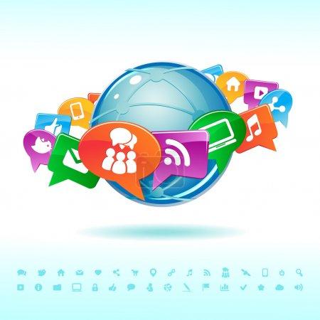 Illustration pour Réseau social des icônes vecteur - image libre de droit