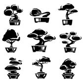 Bonsai tree set Vector