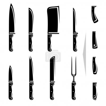 Knife set. Vector
