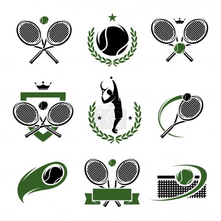 Tennis labels and icons set.