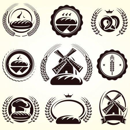 Illustration pour Ensemble d'étiquettes de pain. Vecteur - image libre de droit