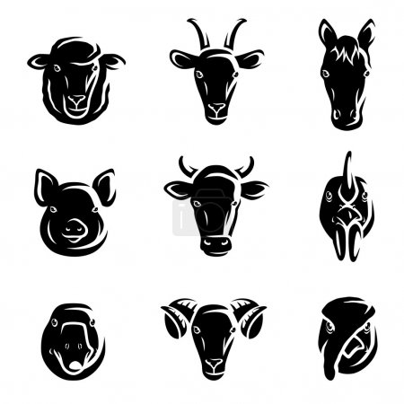 Illustration for Farm animals set. Vector - Royalty Free Image