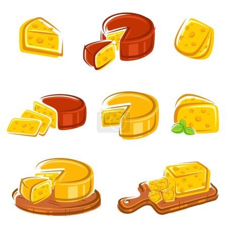Illustration pour Coffret fromage. Vecteur - image libre de droit