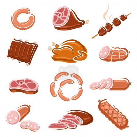 Meat food set. Vector