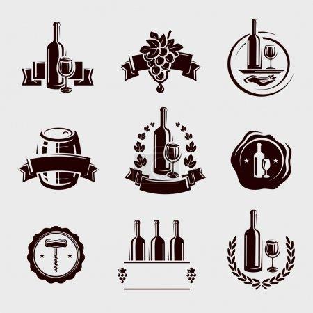 Illustration pour Set d'étiquettes de vin. Vecteur - image libre de droit