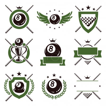 Billiards and snooker labels and icons set. Vector