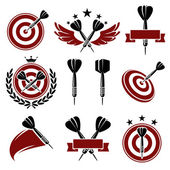 Darts labels and icons set Vector