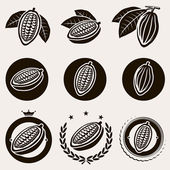 Cacao beans label and icons set Vector