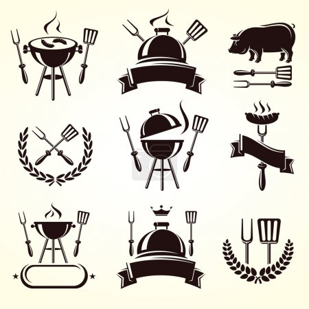 Illustration for Grill elements set on a light background - Royalty Free Image
