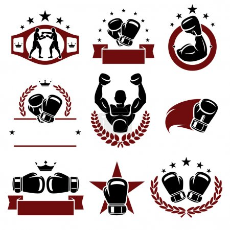 Boxing labels and icons set.