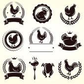 Chicken labels set