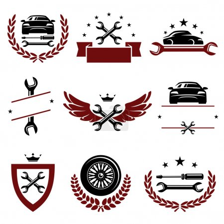 Illustration for Car labels and icons set - Royalty Free Image