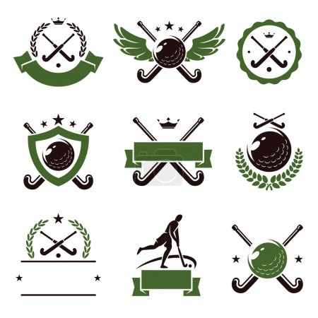Illustration for Hockey field labels and icons set. Vector - Royalty Free Image