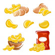 Potato chips set. diet, delicious, eating food ill...