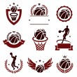 Basketball labels and icons set illustration...