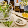 Alternative Medicine. Rosemary, mint, chamomille, thyme in a glass mortar. Essential oils and herbal supplements.