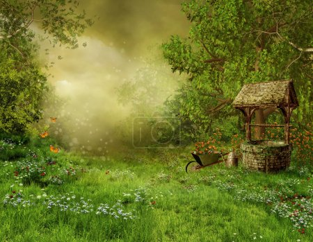 Photo for Village garden with an old well - Royalty Free Image