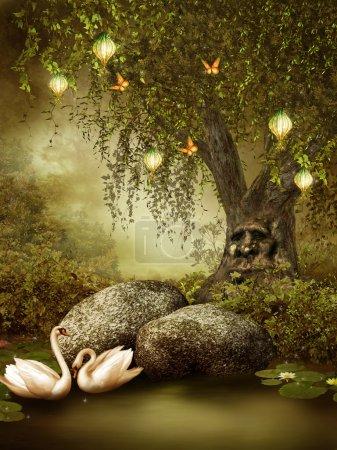 Photo pour Étang enchanté avec lanternes et cygnes - image libre de droit