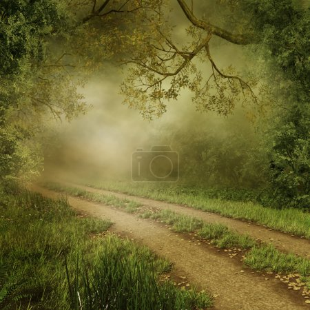 Photo for Foggy forest with a country road - Royalty Free Image