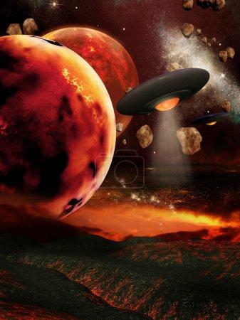 Photo pour Paysages futuristes avec des planètes et des vaisseaux spatiaux enflammés - image libre de droit