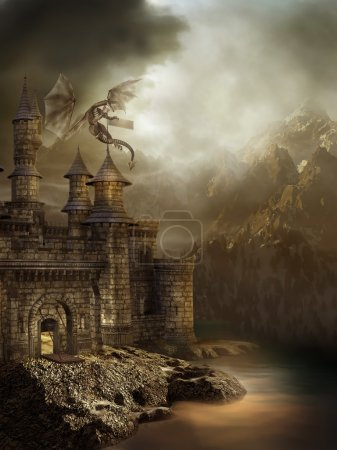 Fantasy castle with a flying dragon