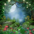 Enchanted forest with mushrooms and fairy lanterns...
