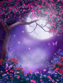 Fantasy tree with flowers