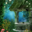 Fantasy wishing well with fairy lanterns...