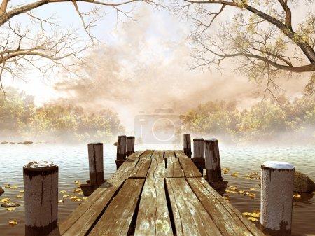 Photo pour Quai en bois avec des feuilles et des branches d'arbres - image libre de droit