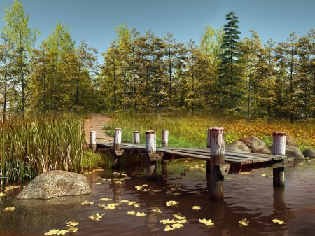 Wooden pier on a lake with leaves