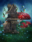 Fantasy house with mushrooms