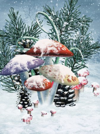 Photo for Winter scenery with colorful mushrooms and cones - Royalty Free Image