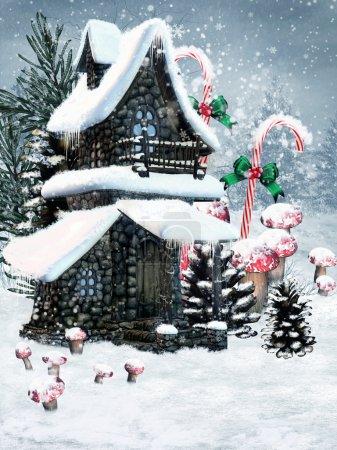 Photo pour Chalet de fées d'hiver avec cônes et champignons - image libre de droit