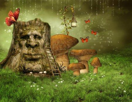 Enchanted tree with mushrooms