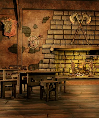 Fantasy tavern with a fireplace