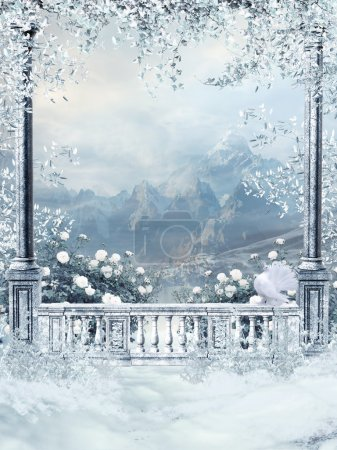 Photo for Winter balcony with vines and white roses - Royalty Free Image