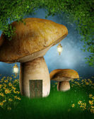 Mushroom house with lamps