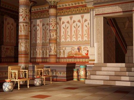 Photo pour Coloré temple égyptien antique avec chaises et vases - image libre de droit